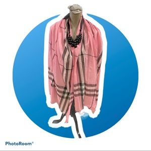 Pink Plaid Scarf 85 inches